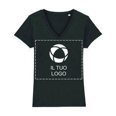 Maglietta da donna vegan con scollo a V e stampa monocolore Evoker Stanley