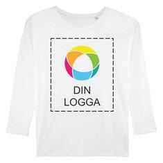 Stella Turns Slub långärmad T-shirt i dammodell med lågt skurna axlar och bläcktryck