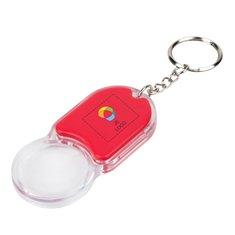 Bullet™ Zoomy vergrootglas en sleutelhangerlampje met full-colour drukwerk