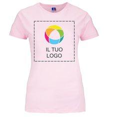 Maglietta aderente da donna 100% cotone filato in catena con stampa a inchiostro Russell™