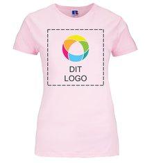 Russell™ dame-t-shirt med slank pasform i 100 % ringspundet bomuld med blæktryk