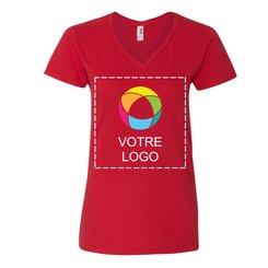 T-shirt femme à col en V en coton filé léger AnvilMD