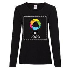 Fruit of the Loom® Lady-fit Valueweight T-shirt med fuldfarvetryk på forsiden og lange ærmer