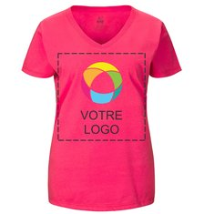 T-shirt femme col en V coton épais HDMC Fruit Of The LoomMD