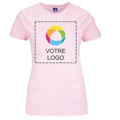 T-shirt femme 100% coton filé imprimé à l'encre Slim de Russell