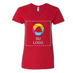 Camiseta Lightweight de algodón hilado por anillo con escote en V para mujer de Anvil®