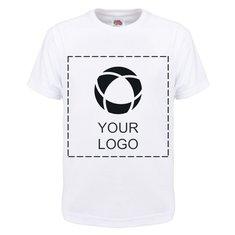 Ensfarvet Fruit of the Loom® T-shirt med tryk til børn i 100 % bomuld