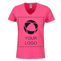 Fruit of the Loom® Single Colour Print Lady-Fit V-Neck T