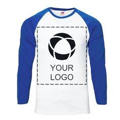 Ensfarvet Fruit Of The Loom® langærmet baseball-T-shirt med tryk til mænd