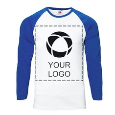 Fruit of the Loom® Single Colour Print Men's Baseball Long Sleeve T-shirt