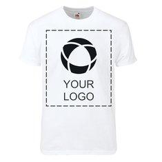 Ensfarvet Fruit Of The Loom® Super Premium T-shirt med tryk til mænd