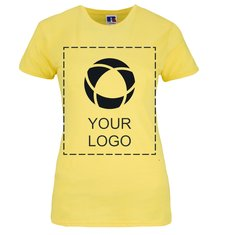Russell™ 100% ringgesponnen katoenen dames-T-shirt met slanke pasvorm en drukwerk in 1 kleur