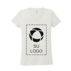Camiseta triple mezcla con cuello de pico Allmade de mujer