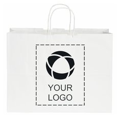 Kraft Paper Shopper Bag White