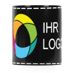 Schwarze Tasse mit Vollfarb-Rundumdruck