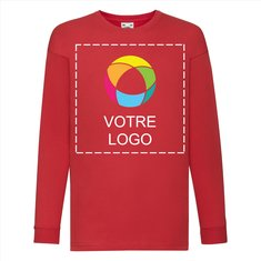 T-shirt enfant manches longues Valueweight de Fruit of the Loom®, impression à l'encre sur le devant