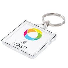 Vierkante sleutelhanger met inzet in full-colour