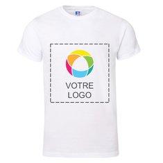 T-shirt premium manches courtes maille piquée 100% coton filé à l'anneau et imprimé à l'encre de Russell