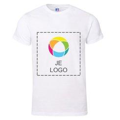 Russell™ Premium met inkt bedrukt T-shirt van 100% ringgesponnen katoen met korte mouwen