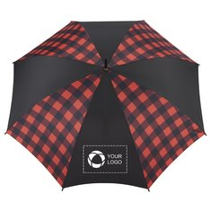 "StrombergBrand®46"" Auto Open Buffalo Plaid Fashion Umbrella"