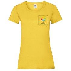 Fruit of the Loom® Valueweight Dames-T-shirt Bedrukt op de Linkerborst en Volledige Achterkant