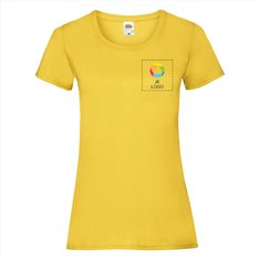 Fruit of the Loom® Valueweight Dames-T-shirt bedrukt op de linkerborst