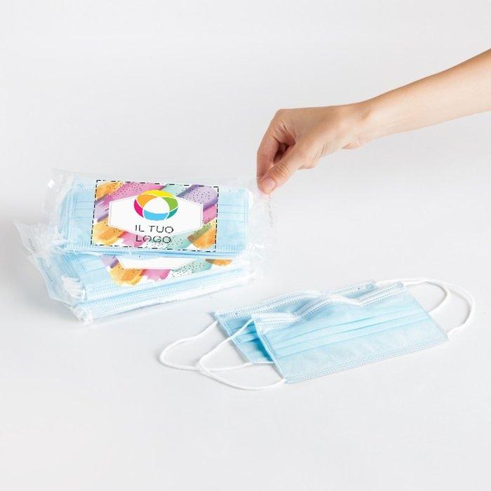 Mascherine monouso - Etichetta personalizzabile (confezione da 10)