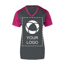 Sport-Tek® Ladies CamoHex Colorblock V-Neck Tee