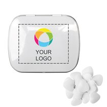 Domed Tin with Heart Shaped Mints, Case of 125