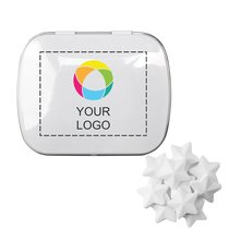 Domed Tin with Star Shaped Mints, Case of 125
