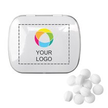 Domed Tin with Golf Ball Shaped Mints, Case of 125