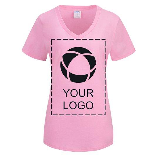 0fbbf425b3 Port & Company® Ladies Core Cotton V-Neck Tee Screenprint