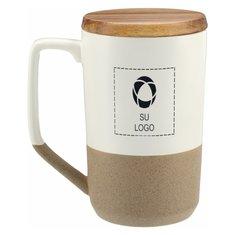 Taza cerámica Tahoe para té o café de 16 onzas con tapa de madera