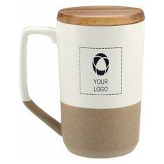 Tahoe Tea & Coffee Ceramic Mug with Wood Lid 16oz