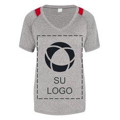 Camiseta Contender™ jaspeada con bloques de color y cuello en V para damas para impresión por serigrafía de Sport-Tek®