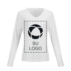 Camiseta Competitor™ de manga larga y cuello en V para dama con tecnología PosiCharge® para impresión por serigrafía de Sport-Tek®