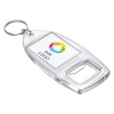 Schlüsselanhänger mit Flaschenöffner und Einsatz in Vollfarbdruck