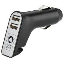 Cargador de dos puertos USB para coche con cortador de cinturones de seguridad y martillo para ventanillas