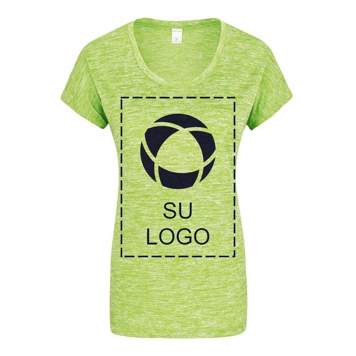f5e74e8020 Camiseta deportiva de jaspeado eléctrico para dama con tecnología  PosiCharge® para impresión por serigrafía de Sport-Tek®