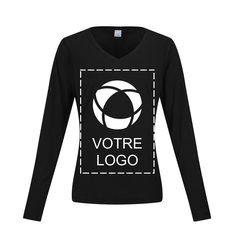 T-shirt femme sérigraphié à manches longues et col en V CompetitorMC PosiChargeMD Sport-TekMD