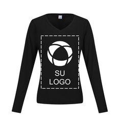 Camiseta Sport-Tek® Competitor™ de manga larga y cuello en V con tecnología PosiCharge® para impresión por serigrafía para mujer
