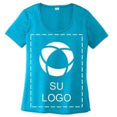 Camiseta de cuello amplio Sport-Tek® Posi-UV™ Pro para mujer