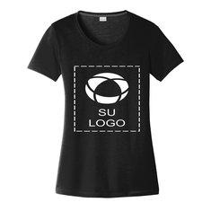 Camiseta de algodón con cuello amplio Sport-Tek PosiCharge Competitor Cotton Touch de mujer para impresión por serigrafía