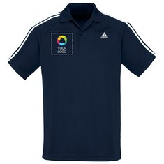 Adidas Men's Navy 3 Stripes Polo T-Shirt (Printed)