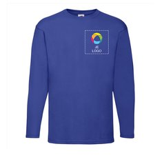 Fruit of the Loom® Valueweight T-shirt met Lange Mouwen Bedrukt op de Linkerborst