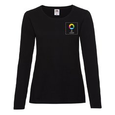 Fruit of the Loom®Lady-Fit Valueweight T-shirt met Lange Mouwen Bedrukt op de Linkerborst