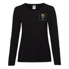 Fruit of the Loom® Lady-Fit Valueweight langærmet T-shirt – blæktryk på venstre side af brystet