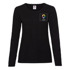 Fruit of the Loom® Valueweight långärmad T-shirt i dammodell med bläcktryck på vänster bröst