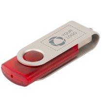 Memoria USB giratoria translúcida de 4 GB grabada con láser