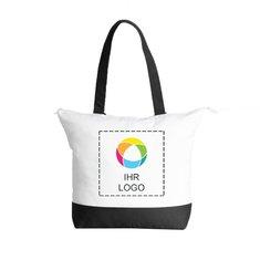 Klassische zweifarbige Deluxe-Baumwolltragetasche mit Reißverschluss– exklusiv bei Promotique™